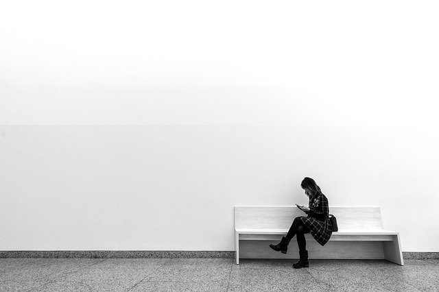 Women, One, Wall, Minimalism, Bank, Inside, Adult, Girl