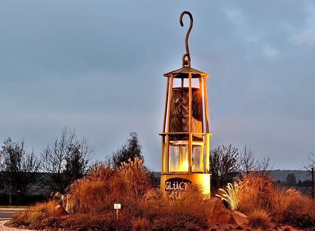 Safety Lamp, Mining Town, Bleicherode, Blue Hour