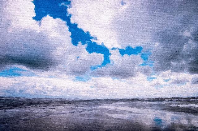 Lake, Minnesota, Sky, Clouds, Painting, Art, Drawing