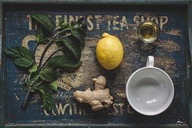 Tea, Honey, Lemon, Ginger, Mint, Above, Herb, Herbal