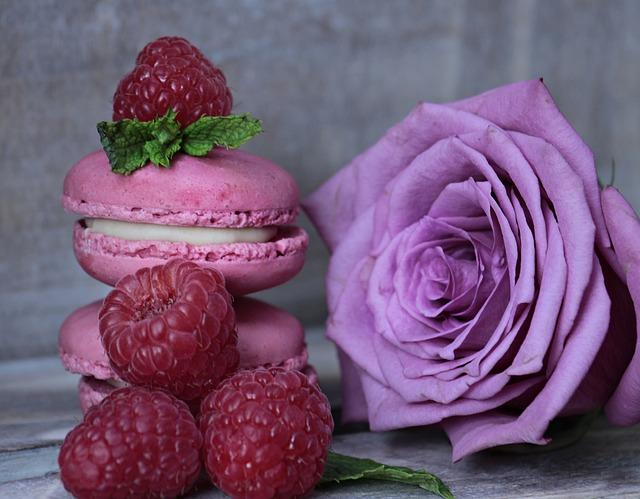 Macarons, Raspberries, Mint, Rose, Purple Rose