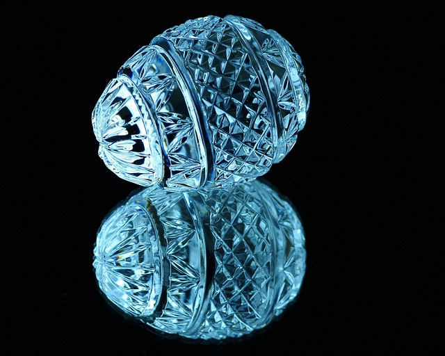 Crystal, Egg, Cut Glass, Mirror Image, Facets, Blue