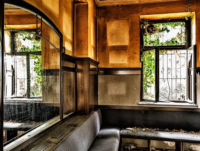 Lost Places, Pforphoto, Bar, Pub, Window, Mirror