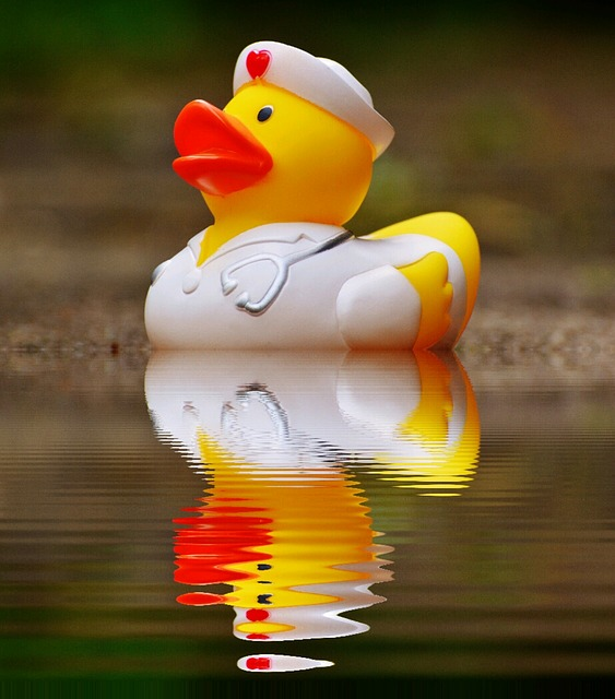Rubber Duck, Bath Duck, Mirroring, Water, Nurse