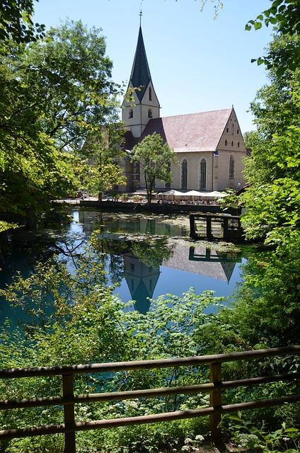 Blautopf, Church, Blaubeuren, Mirroring, Monastery
