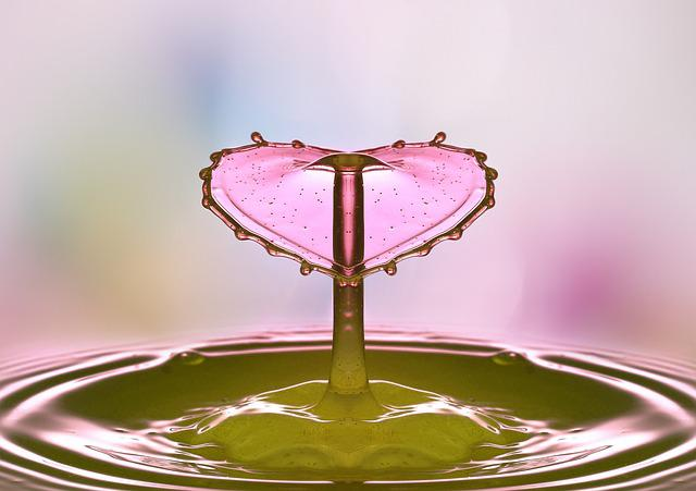 Drop Of Water, Mirroring, Mirrored, Heart, Valentine