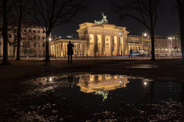 Berlin, Brandenburg Gate, Night Photograph, Mirroring