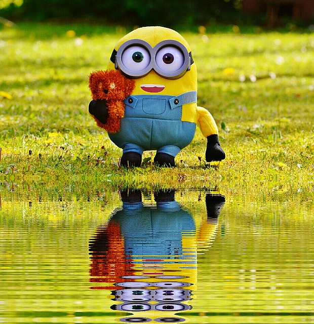 Water, Mirroring, Soft Toy, Minion, Toys, Fun, Funny