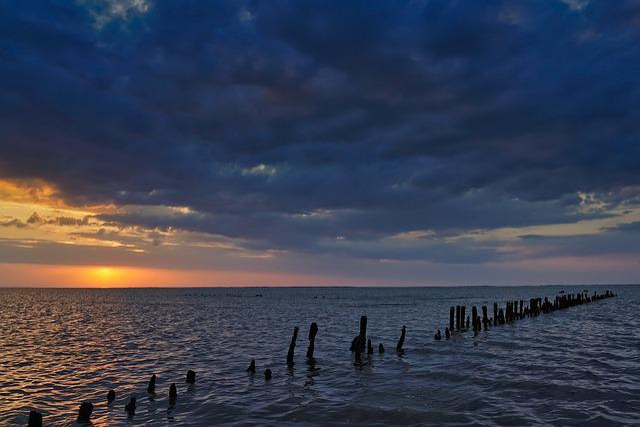 Sunset, East Frisia, North Sea, Water, Sea, Mirroring