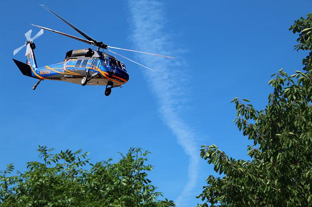 Helicopter, Searching, Flying, Mission, Sky, Clouds