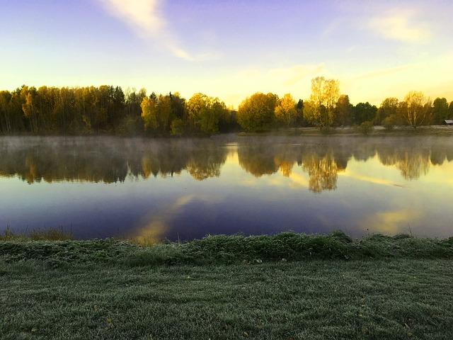 Skellefteå, Water, Mist, Himmel, Sweden, Autumn