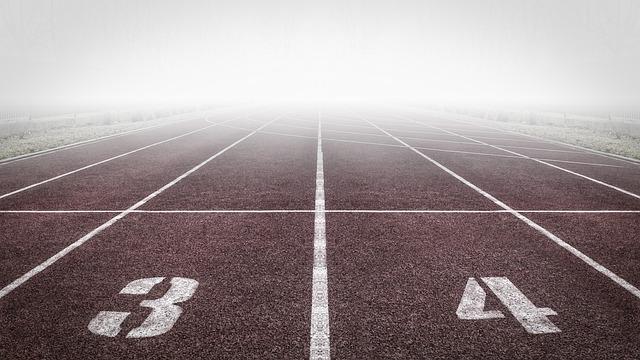 Running Track, Numbers, Fog, Athletic Field, Mist