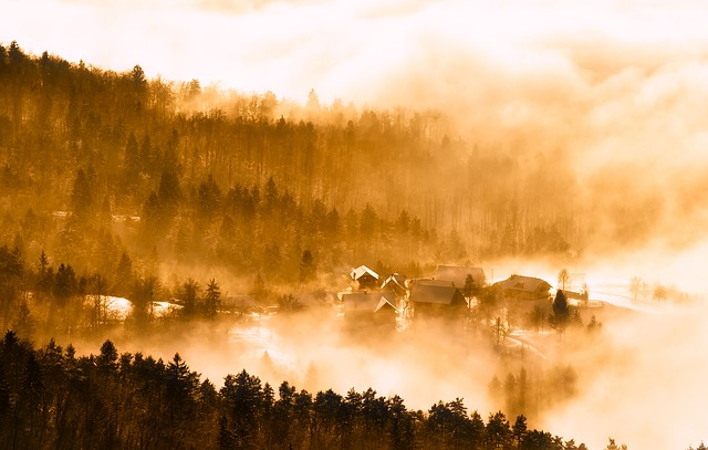 Slovenia, Sunrise, Dawn, Morning, Fog, Haze, Mist