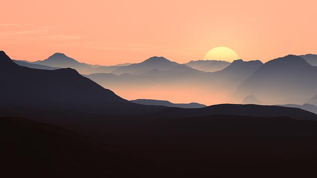 Mountains, Landscape, Sunset, Dusk, Fog, Foggy, Mist