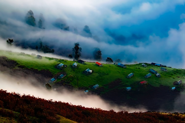 Iran, Sunrise, Dawn, Fog, Mist, Houses, Homes