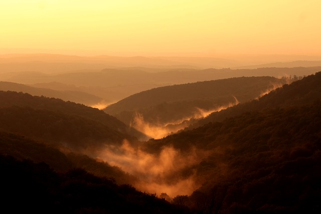 Mountains, Sunset, Haze, Fog, Mist, Nature, Landscape
