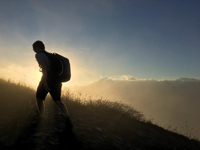 Mountain, Silhouette, Man, Drone, Sun, Mist, Hill