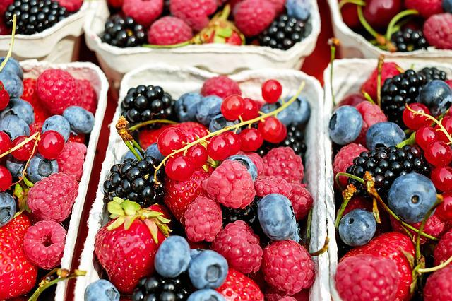 Berries, Raspberries, Fruit, Fruits, Mixed, Fruit Stand