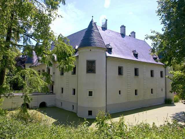 Haidershofen, Moated Castle, Palace, Building, Water