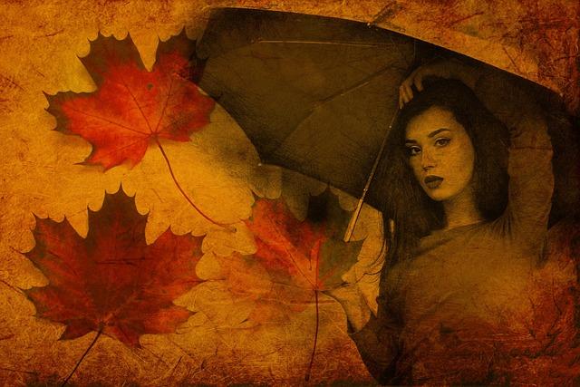 Autumn, Girl, Umbrella, Foliage, Young, Model, Woman