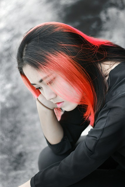 Beautiful, Campus, Figure, Woman, Model, Red Hair, Sad