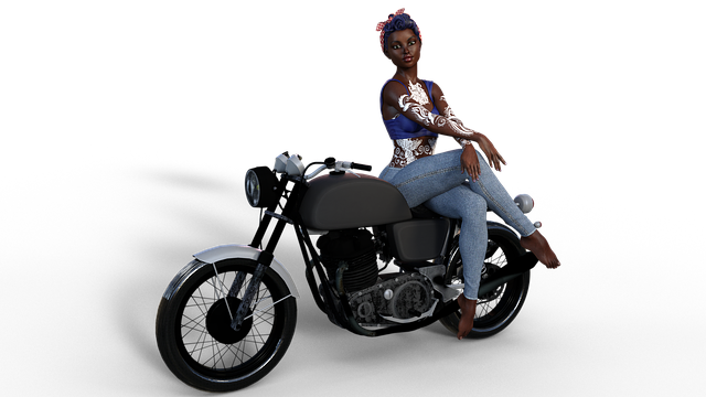 Bike, Female, Model, 3d Character, Comic