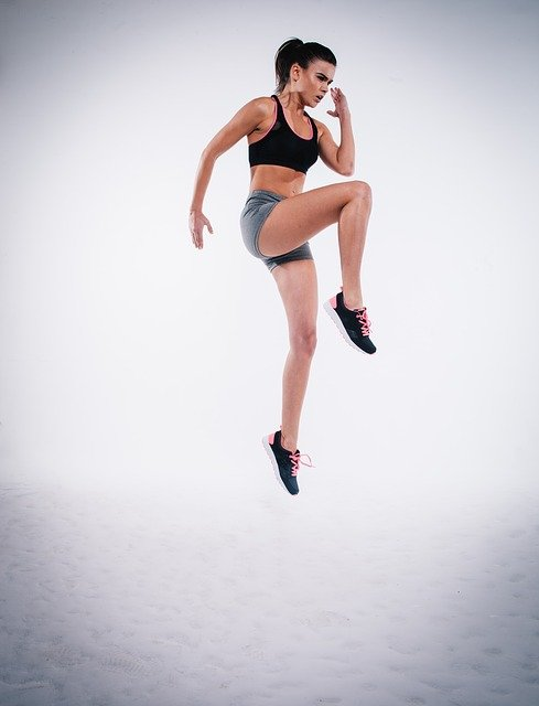 Action, Jump, Woman, Exercise, Figure, Fitness, Model