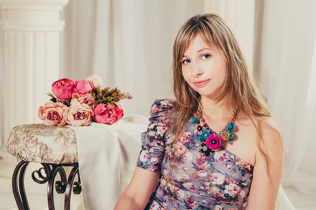 Portrait, Flowers, Light Background, Model
