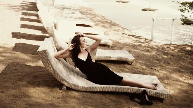 Girl, On The Beach, černoe Dress, Fashion, Woman, Model