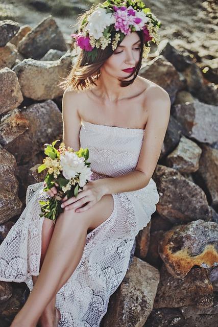 Bouquet, Dress, Fashion, Female, Flowers, Model, Person