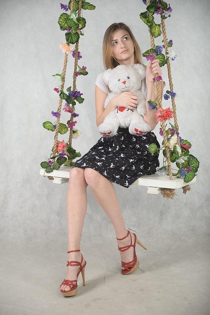 Girl, Teddy-bear, Soft Toy, Model, Swing