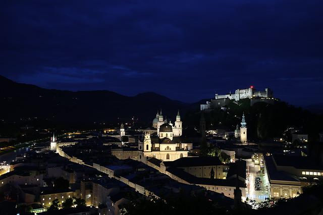 Mönch Habsburg Castle, Night View, Austria