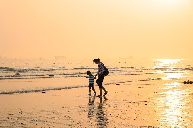 Beach, Sea, Sunset, Mother, Mom, Son, Child, Family