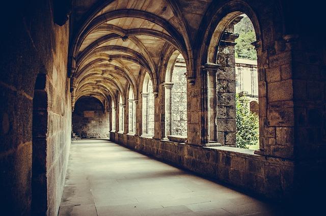 Cloister, Columns, Monastery, Armenteira, Galicia