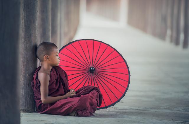 Buddhism, Monk, Monastery, Umbrella, Asia, Boy