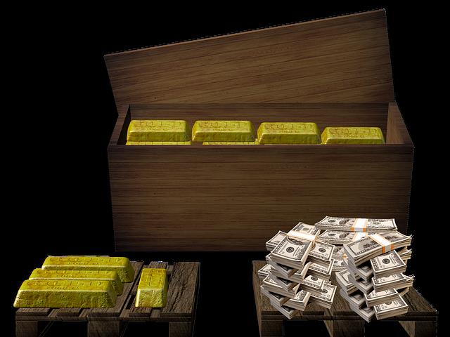 Gold, Box, Money, Dollar, Treasure, Treasure Chest
