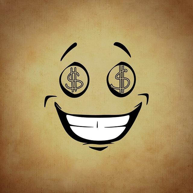 Smiley, Emoticon, Money, Greed, Funny