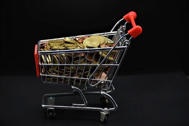 Shopping Cart, Coins, Money, Miniature