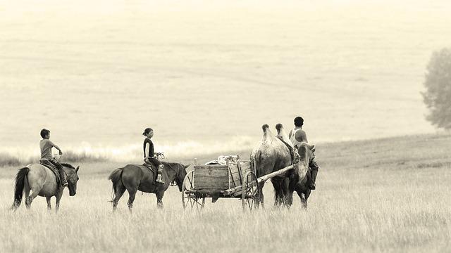 Landscape, Mongolia, Bayan Ovoo, Camel Wagon, Horses
