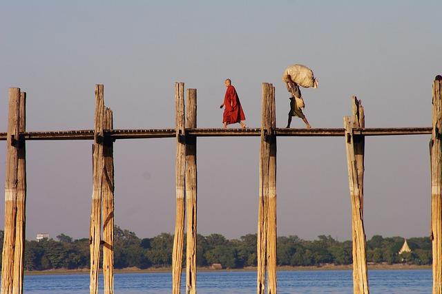 Burma, Myanmar, U Leg Bridge, Monk, Landscape