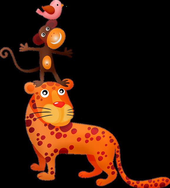 Animal Tower, Tiger, Monkey, Fantasy