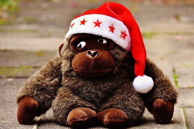 Monkey, Gorilla, Christmas, Santa Hat, Stuffed Animal