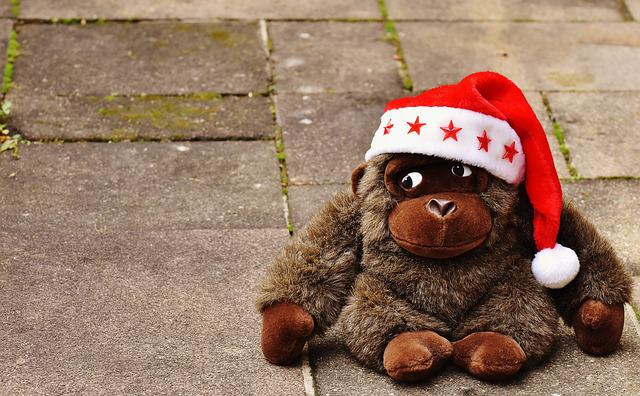 Christmas, Santa Hat, Stuffed Animal, Soft Toy, Monkey