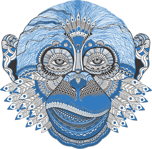 Pattern, Monkey, New Year's Eve, Dudling, Symbol, Blue