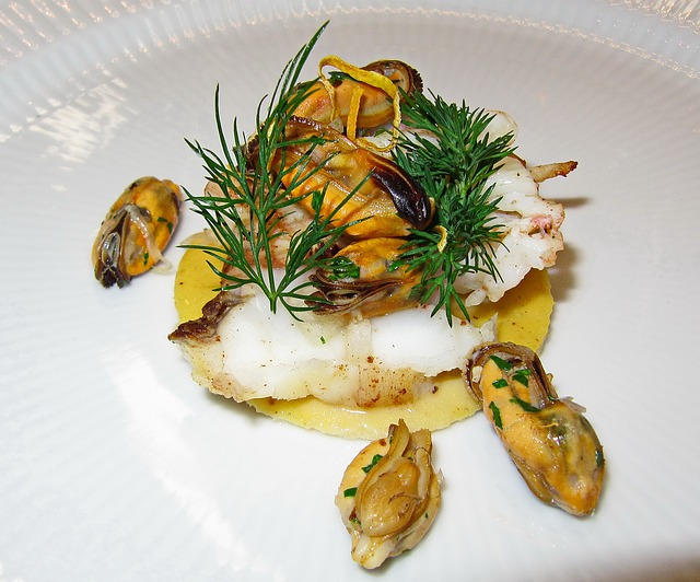 Monkfish, Steamed, Poached, Mussels, Dill, Sauce