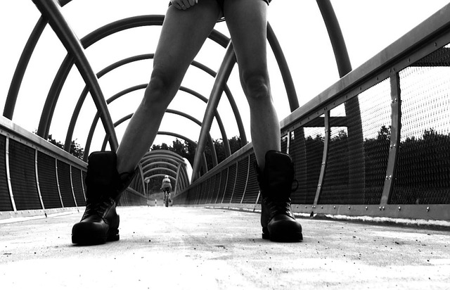Cyclist, Bridge, Boots, Feet, Monochrome