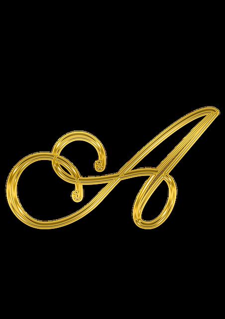 A, Litera, Letter, Gold, Monogram, Decor, Golden