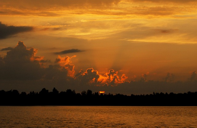 Sunset, Nature, Sky, Monolithic Part Of The Waters