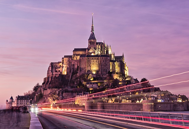 Mont Saint Michel, France, Sunset, Architecture, Abbey