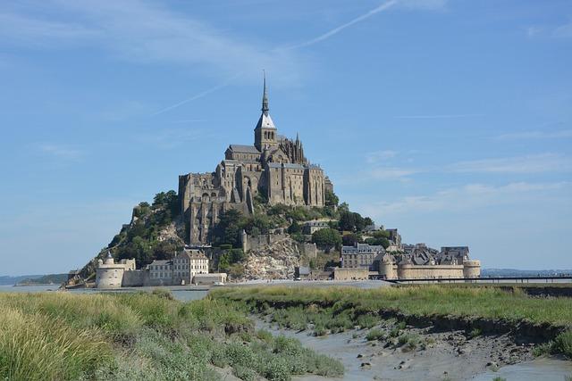 Mont Saint-michel, Handle, Normandy, Abbey, Blue Sky